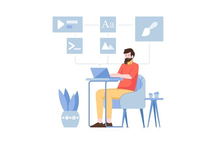 Thumbnail for Flache Abbildung des Software-Computers
