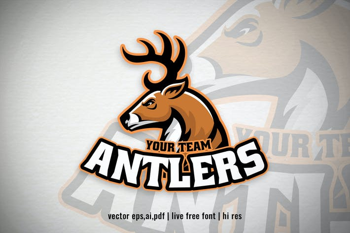 Thumbnail for deer antlers mascot sport and esport logo