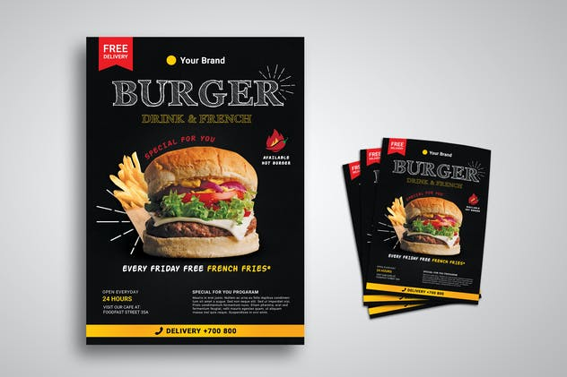 Burger Restaurant Promo Flyer - product preview 0