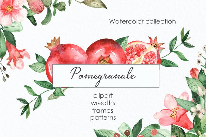 Thumbnail for Watercolor pomegranate. Clipart, frames, wreaths