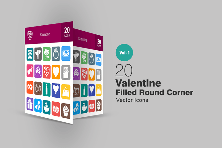 Thumbnail for 20 Valentine Filled Round Corner Icons