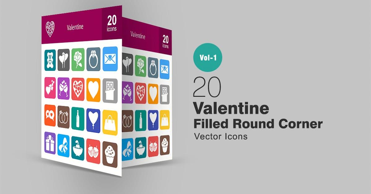 20 Valentine Filled Round Corner Icons by IconBunny