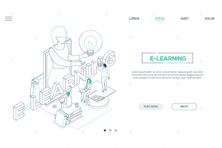Thumbnail for E-learning concept - line design style web banner