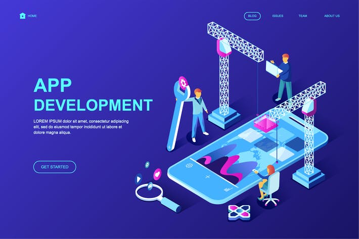 Thumbnail for App Development Isometric Landing Page Template