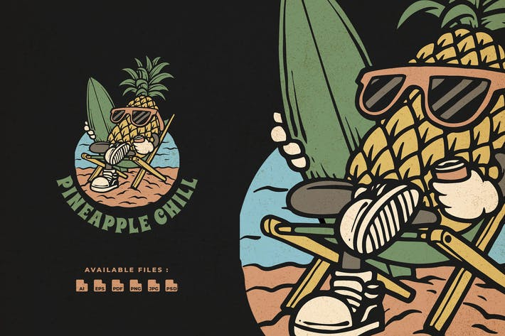 Ananas Chill Handgezeichnetes Logo