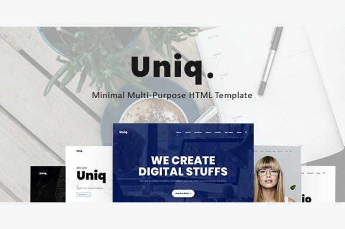 Thumbnail for Uniq - Minimal Multipurpose Creative HTML Template