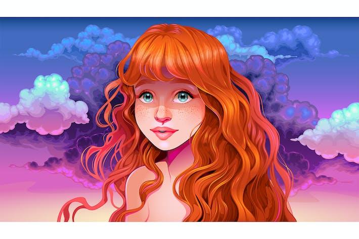 Thumbnail for fille avec cheveux rouges et taches de rousseur dans le coucher du soleil