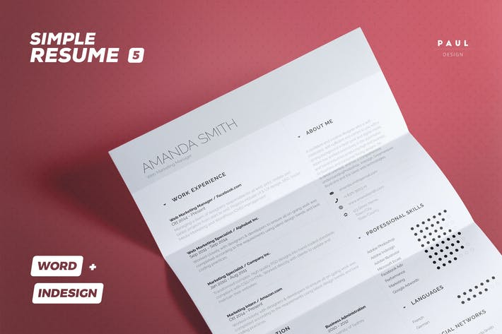 Thumbnail for Simple Resume/Cv Volume 5