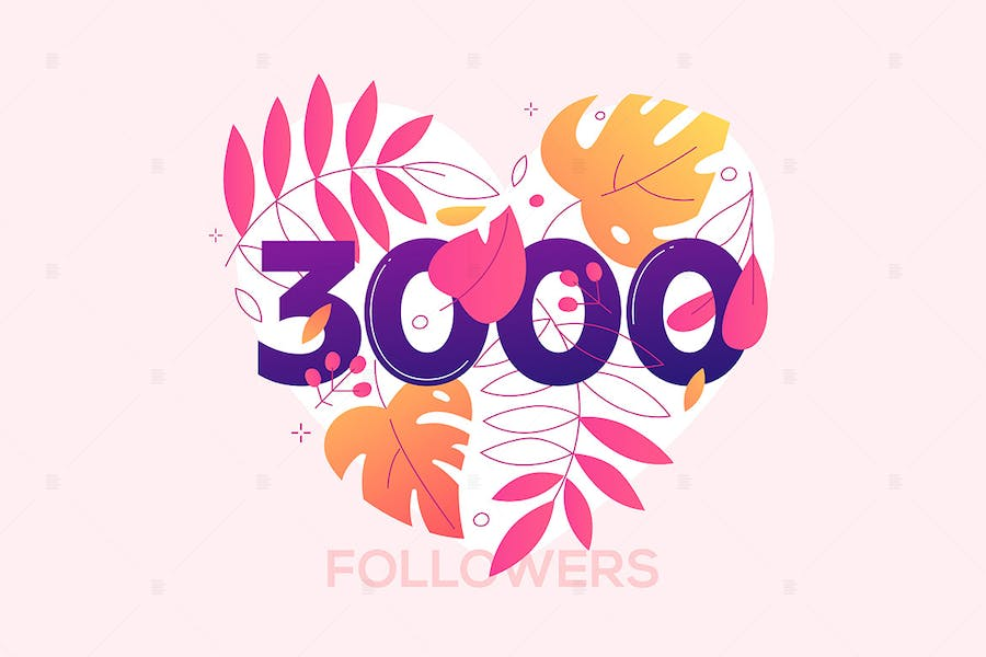 3000 followers - flat design style banner