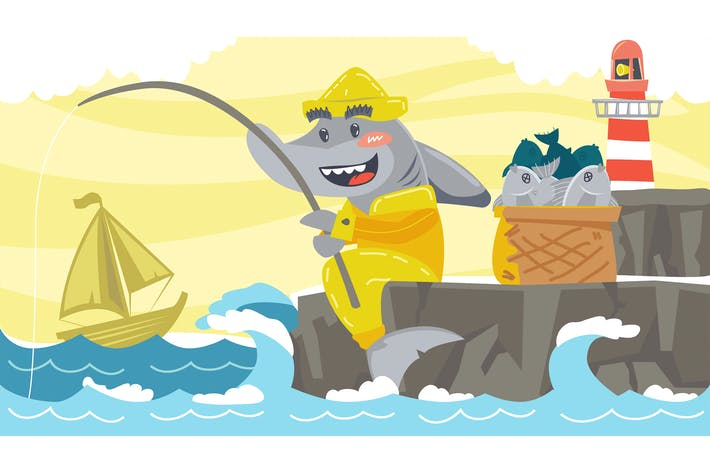 Thumbnail for Shark Fable Kids Illustration