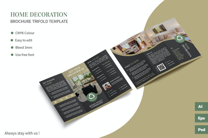 Thumbnail for Home Decoration - Trifold Brochure Template