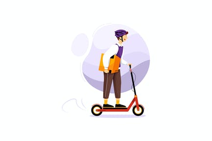 Delivery Courier Riding Electric Scooter