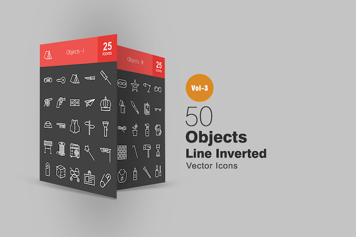 Thumbnail for 50 Objects Line Inverted Icons
