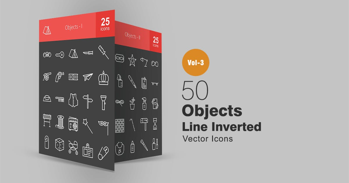 Download 50 Objects Line Inverted Icons by Unknow