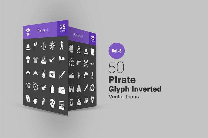 Thumbnail for 50 Pirate Glyph Inverted Icons