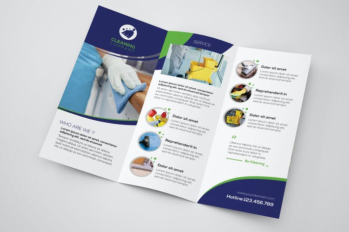 cover image for cleaning company trifold brochure template