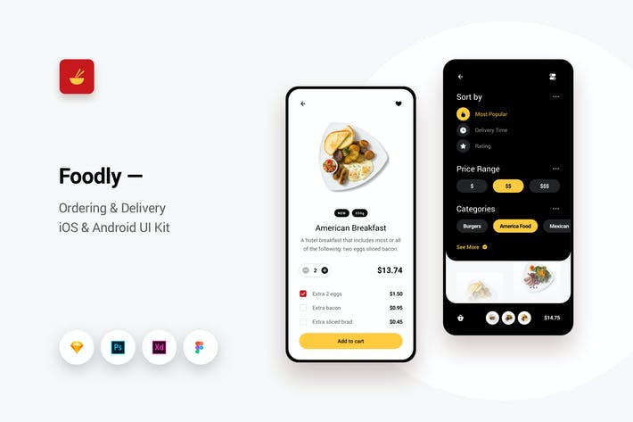 Foodly - Ordering Delivery iOS & Android UI Kit 2