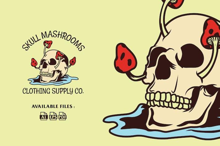 Thumbnail for Skull Mushroom Badge Logo