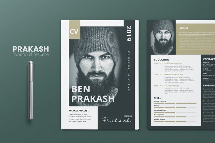 Thumbnail for Clean Minimalist CV Resume AI and PSD Flyer Vol.30