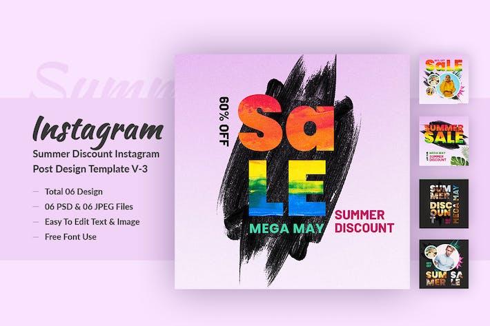 Thumbnail for Summer Discount Instagram Post Design Template V-3