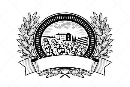 Olive Harvest Label Black And White