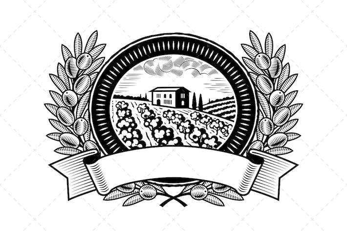 Thumbnail for Оливковый урожай этикетки черный и белый