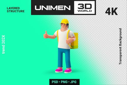 3D Man with Bag Food Delivery Concept