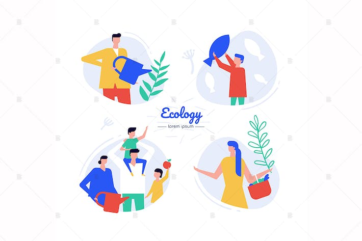 Thumbnail for Ecology - flat design style characters set
