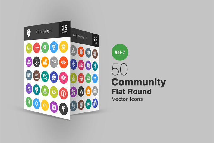 Cover Image For 50 Community Flat Round Icons