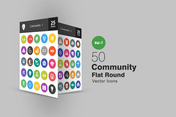 Thumbnail for 50 Сообщество плоские круглые Иконки