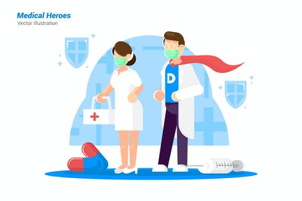 Medical Heroes - Vector Illustration