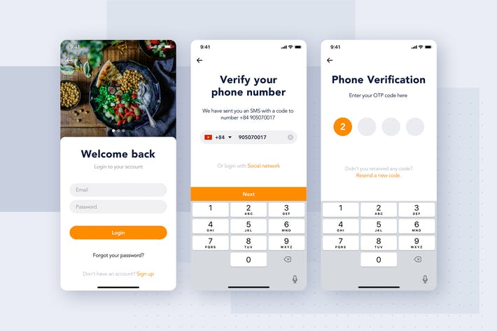 Thumbnail for Login authentication app screen for Food
