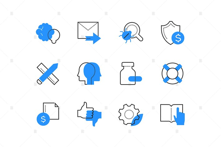 Thumbnail for Business development and protection color icons