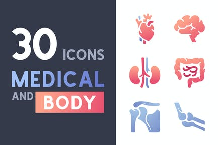 30 Medical and Body icon set