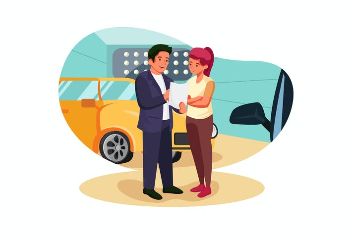 Thumbnail for Visitor looking through agreement in car dealer