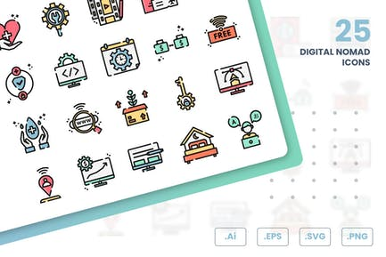 Digital Nomad Icons Set