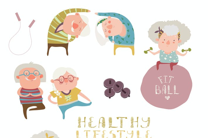 Thumbnail for Vector set of elderly people doing exercises