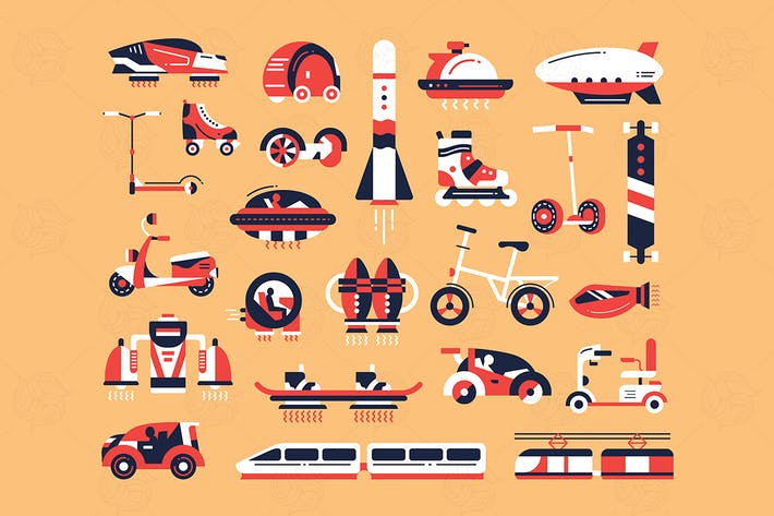 Thumbnail for Transport - flat designstyle icons set