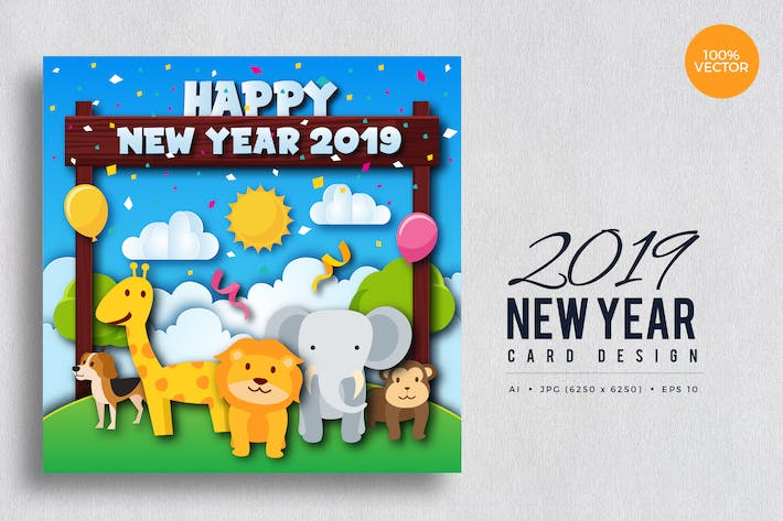 Cover Image For Cute Wildlife Animal Happy New Year 2019 Card