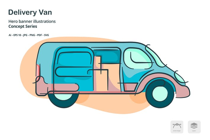 Thumbnail for Delivery Van Transportation Vector Illustration