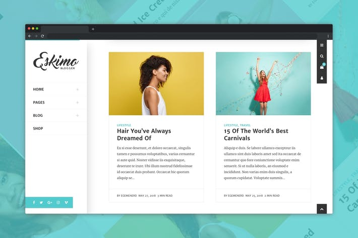 Thumbnail for Eskimo - Minimal Personal WordPress Blog Theme