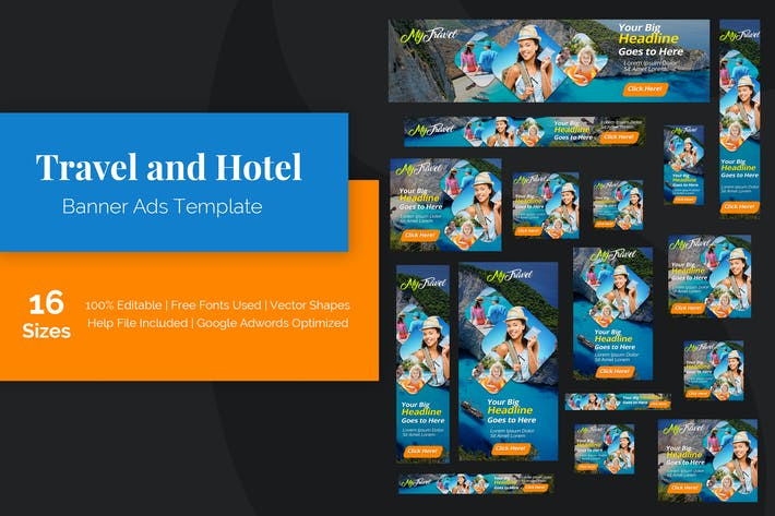 Thumbnail for Travel and Hotel Banner Ads Template