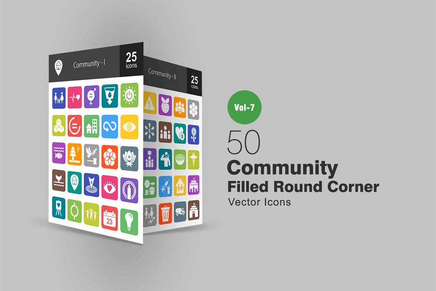 50 Community Filled Round Corner Icons