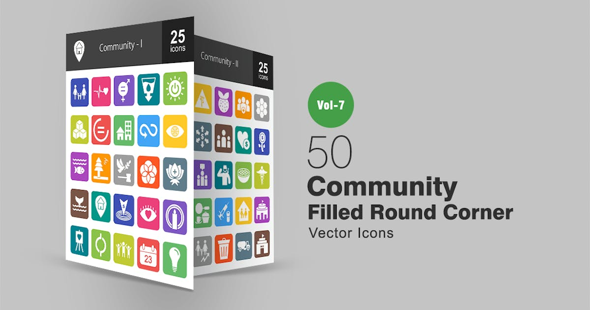 Download 50 Community Filled Round Corner Icons by IconBunny