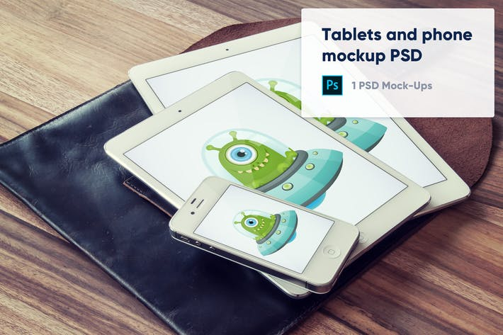 Thumbnail for Tablets and phone on black leather case mockup PSD