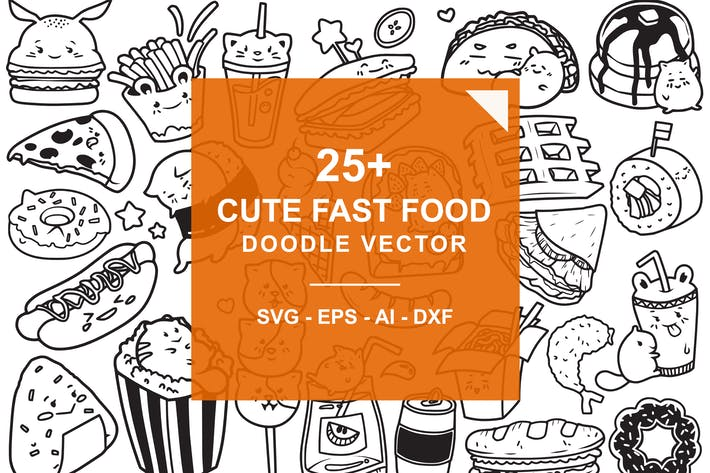 Thumbnail for Fast Food Doodle Vector