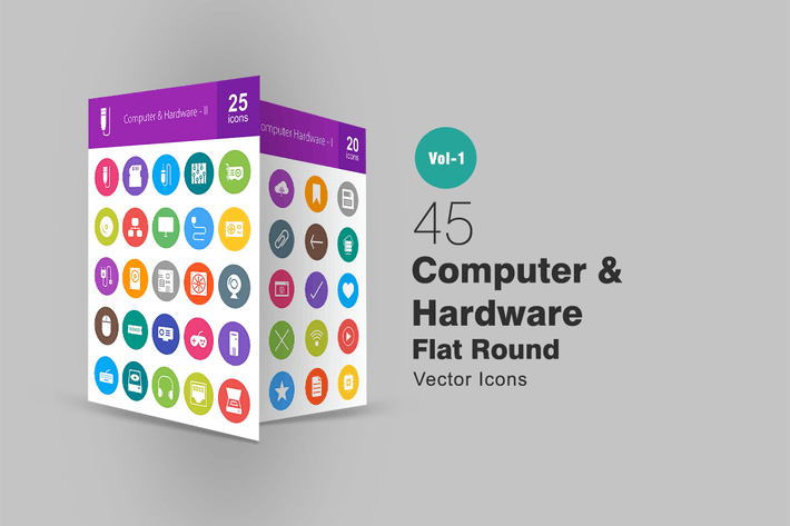 Thumbnail for 45 Computer Flat Round Icons