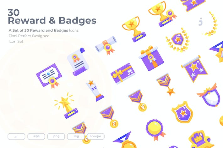 Thumbnail for 30 Reward & Badges Icons - Flat