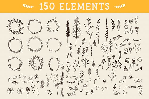 150 Floral Graphic Elements - product preview 0