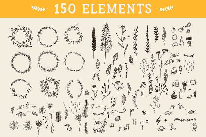 Thumbnail for 150 Floral Graphic Elements